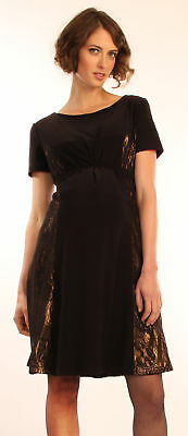 Japanese Weekend Maternity Nursing Black Lace, Gold Overlay Occasion Dress S 6 8
