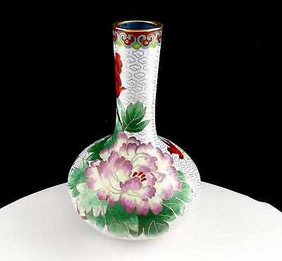 """Asian Antique Cloisonne Brass And White Floral And Bird Design 7"""" Bud Vase"""