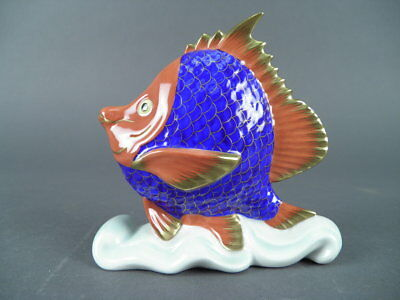 Hand Painted Herend Hungary Porcelain Ceramic Fish