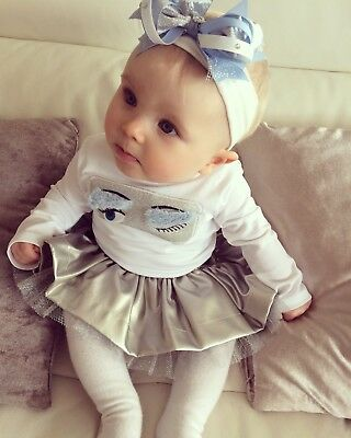 Microbe by Miss Grant Top & silver Leather Skirt RRP £185, 9-12 months