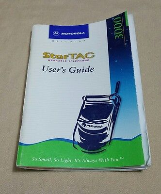 Vintage 90s Motorola Cellular Phone Operations Manual StarTac User's Guide 3000