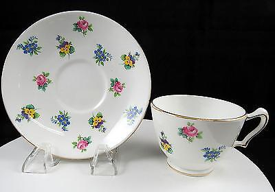 """Crown Staffordshire England Rose Pansy Footed 2 3/8"""" Cup And Saucer Set"""