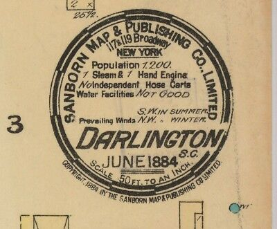Darlington, South Carolina~Sanborn Map©sheets 1884 to 1908 in color on a CD