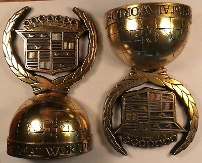 "Cadillac Crest gold vintage Bookends 7"" ""BEST of ALL WORLDS"""