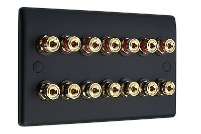 7.0 Audio AV Speaker Wall Face Plate Matt Black Gold Binding Posts Non-Solder
