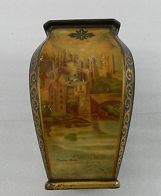 EdwardianTin Tea Caddy Richmond castle and Durham castle 20cm tall