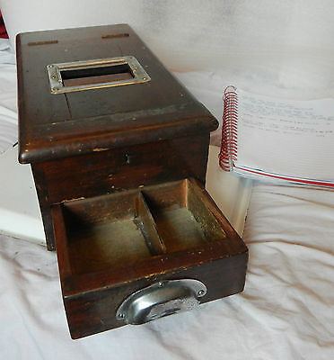 Early 20th century wooden cash till drawer with a ringing bell when opened