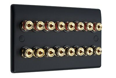 8.0 AV Audio Speaker Wall Face Plate Matt Black 16 Gold Binding Posts Non-Solder