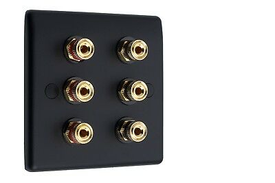 3.0 AV Audio Speaker Wall Face Matt Black Plate 6 Gold Binding Posts Non-Solder