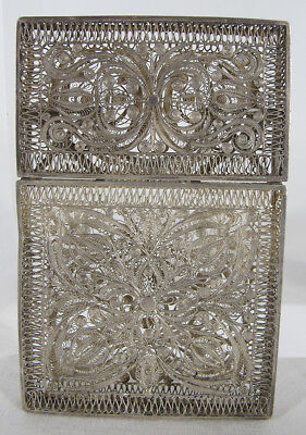 Antique Victorian Era Fine Sterling Silver Filigree Calling Card Case Holder yqz