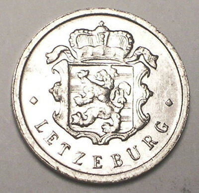 1954 Luxembourg 25 Centimes Crowned Lion Coin VF+