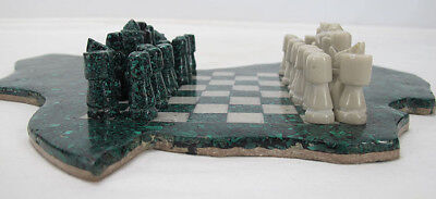 Vintage Natural Green Malachite Figural Africa Chess Game Board Complete Set yqz
