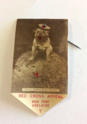 WW2 Miss Port Adelaide Red Cross Appeal Badge Pin British Bulldog On Globe