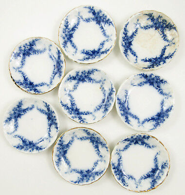 "Set 8 Flow Blue 3"" Daisy Butter Pats Antique Burgess Leigh England 1896"