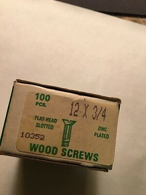 Fast-Rite #12 X 3/4 inch FLAT  Head SLOTTED Zinc PLATED Wood Screws 100 PER box