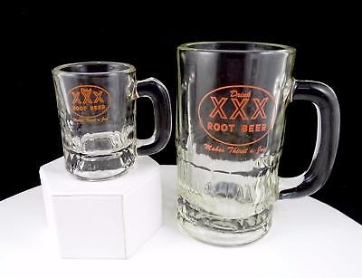 TRIPLE X VINTAGE ROOT BEER 2 PC ORANGE ROUND LOGO MINI & MEDIUM MUGS 1950's-60's