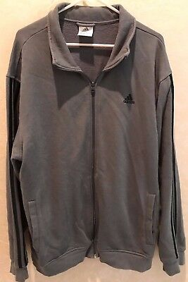 mens size XL gray JACKET spring fall ADIDAS stripes on sleeves ZIPPER FRONT NICE