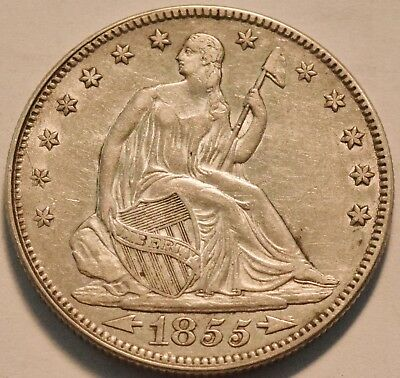 1855 Seated Liberty Half Dollar, Higher Grade, Scarce Type Coin, Silver 50C
