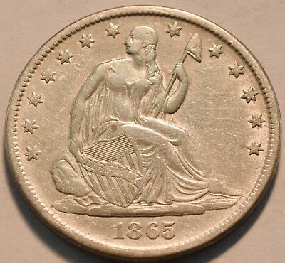 1865 S Seated Liberty Half Dollar Higher Grade, Scarce Civil War Date Silver 50C
