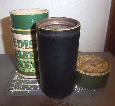 Edison 4 minute Amberol Record Wax Cylinder & box, my old girl, ends worn