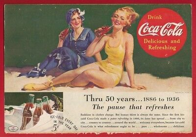 1936 Coca Cola Ad 50th Anniversary SWIMSUITS Vintage COKE Pause That Refreshes