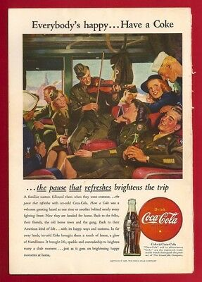 1945 Coca Cola Ad Celebrating The End Of WWII COKE Vets Returning Home VINTAGE