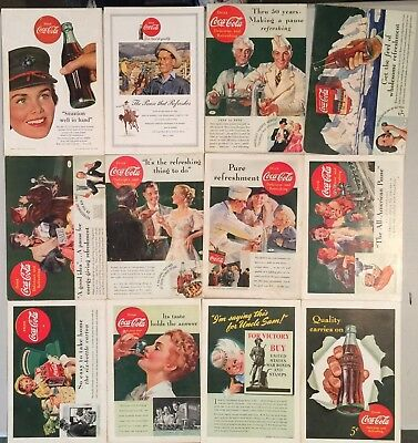 1930-40-50 Coke Coca Cola Ads - Lot of 12  National Geographic Back Cover ONLY