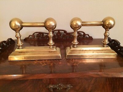 Pair Antique Vintage Victorian Brass Fire Dogs Fireplace Andirons