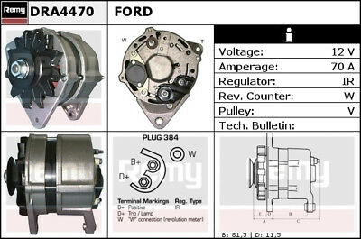 FORD FIESTA Mk2 1.6 Alternator 85 to 89 LP3 Remy R86AX10300MB EGL220R EGL220
