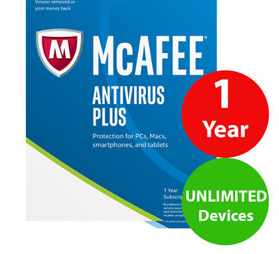 McAfee Antivirus PLUS unlimited devices (1) year 2019 ( worldwide )