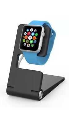 Elemerce Foldable Aluminum Charging Stand for Apple Watch (Black)