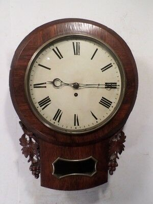 Very Nice English 1880 Carved Fruit/Leaves Wall Fusee Regulator