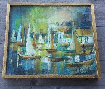 Dynamite Midcentury Abstract Oil Painting of Boat Harbor – Signed Nancy Meadow