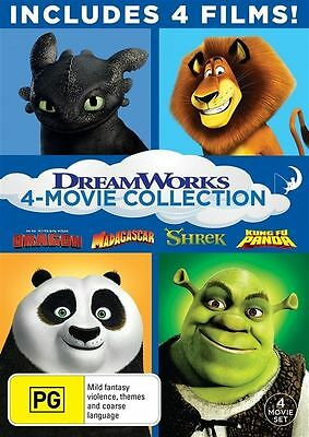 Dreamworks 4 Movie Collection DVD NEW R4 Shrek, Madagascar, Kung Fu Panda & More