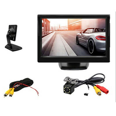 "2video inputs 5"" TFT LCD Car Rear View Monitor 8LED Revers Backup Parking Camera"
