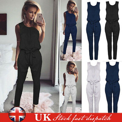 Women Lounge Wear Sleeveless Jumpsuit Romper Ladies Playsuit Tracksuit Size 6-14