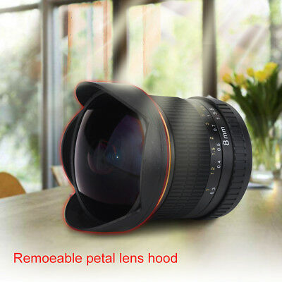 8mm f/3.5 Wide Angle Manua Fisheye Lens With Hood for Nikon DSLR Cameras