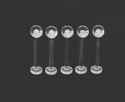 5 Clear Tongue Retainer Bars Flat Bottom Screw Ball 14g 16mm #33