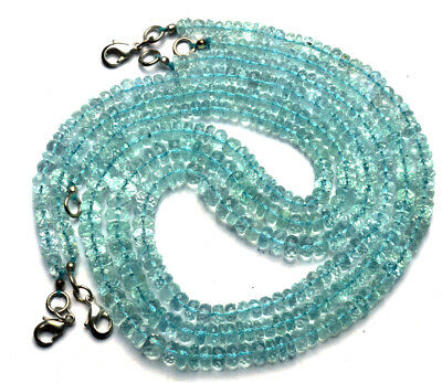 """Natural Gemstone Faceted Aquamarine 5 to 7MM Rondelle Beads Necklace 16"""" 99Cts."""