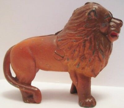 Old Antique Toy Cast Iron Coin Still Bank - Lion w/ Mane - unusual color