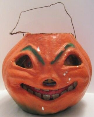 Old Large Paper Mache Halloween Jack O Lantern Pumpkin w/Scary Face