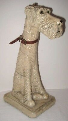 Old 1935 Large Chalkware Airedale Terrier Dog Lamp Base signed Studyette WOW!!!