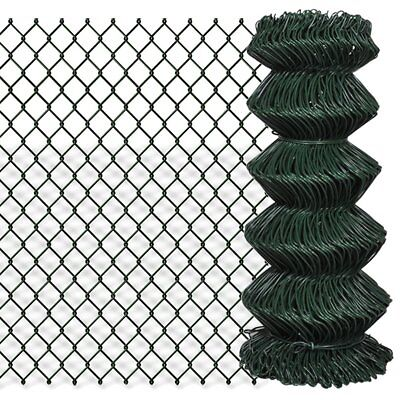 vidaXL 0.8x25m Chain Link Mesh Fence Garden Netting Galvanised Steel PVC Coated