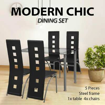 Modern Dining Suite Glass Top Table 4 Black/White Chairs High Back Leather Seat