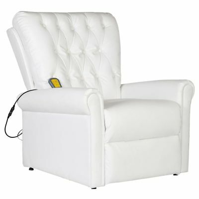 Massage Chair Faux Leather Recliner Electric Remote Control Stretching White