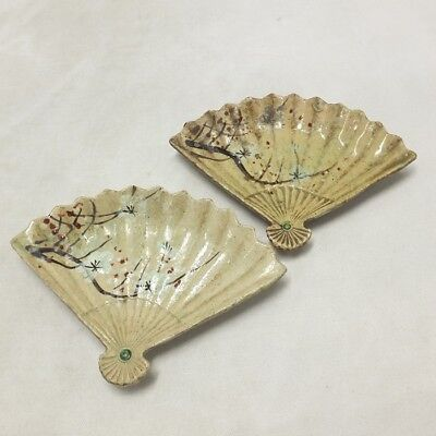 D671: Real old Japanese KIYOMIZU pottery ware pair of fan-shaped small plate