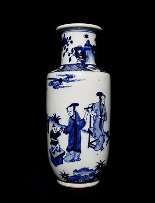 Marvelous Rare Old Chinese Painting Figures Blue And White Porcelain Vase FA774