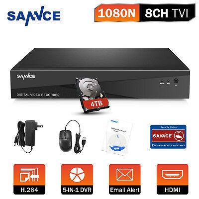 SANNCE 1080N 5in1 CCTV 8CH P2P DVR w/ 4TB HDD for Security Camera System Remote