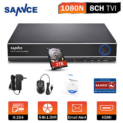 SANNCE 5in1 1080N 8CH DVR P2P Video Recorder for Home Security System 2TB HDD