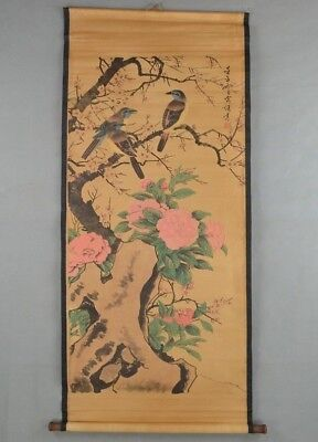 Collectible Old Decorated superb Chinese long Scroll Painting Flower and Bird